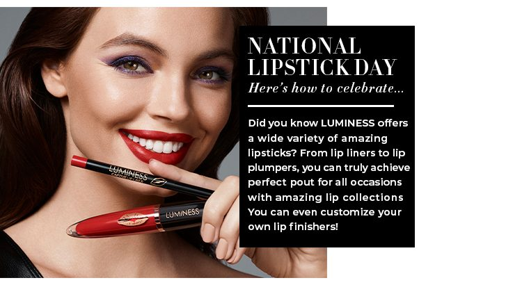 Brunette woman model with red lipstick on displays Luminess Forever Reign lipstick for National Lipstick Day 2021